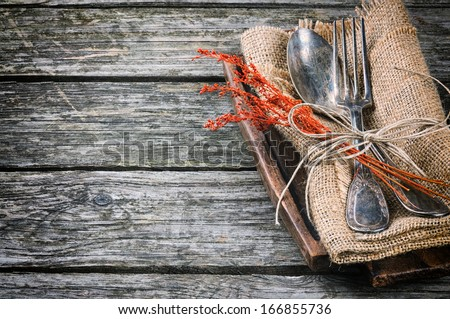 Rustic table setting in brown tone  - stock photo