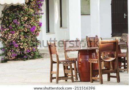 Rustic terrace on a mediterranean island - stock photo