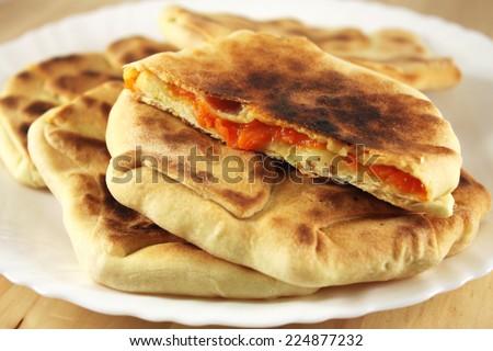Rustic tortillas with pumpkin - stock photo