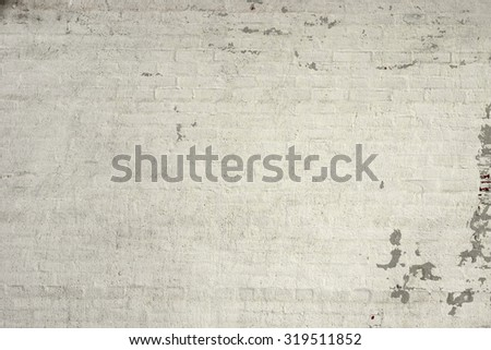 Rustic Vintage White Brick Wall Texture Background With Copy Space - stock photo