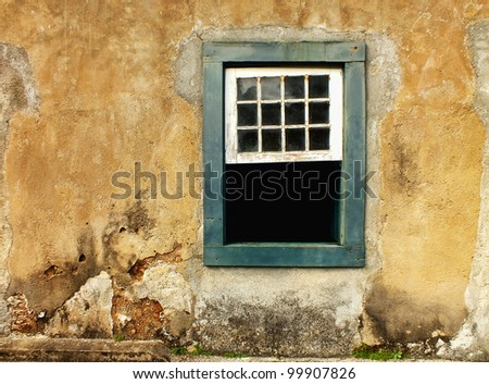 rustic wall and old wooden window