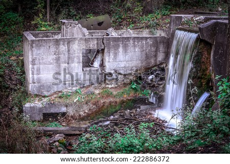Rustic Waterfall with natural coloring - stock photo