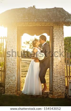 rustic wedding in summer village - stock photo