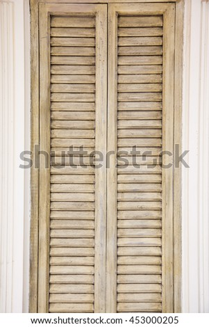 Rustic Window Closed Wooden Exterior Shutters Stock Photo (Royalty ...