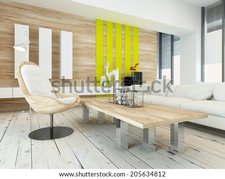rustic wood veneer finish living room interior with natural wood coffee table and wall panels and