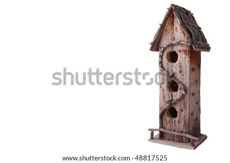 Rustic Wooden Bird House Isolated on White Background - stock photo