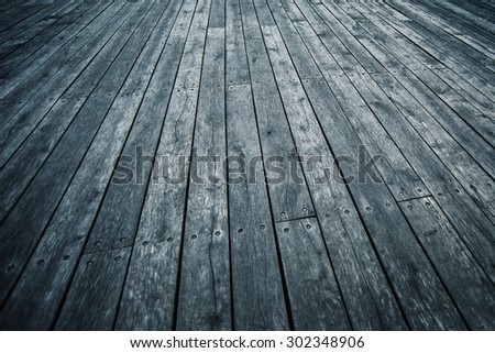 Rustic Wooden Boardwalk Texture in Perspective as Background for Product Placement, Cold Blue Tone - stock photo
