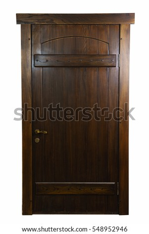 Rustic, wooden, brown door. Elm tree.  isolated on white background