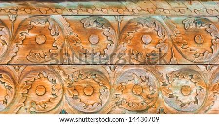 Rustic wooden decorative ornament - stock photo