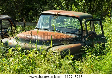 Rusty American truck hidden by the nature. Time is passing concept.