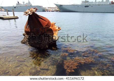 rusty anchor at sydney harbor - stock photo