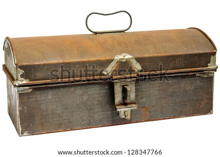 Rusty ancient storage box isolated on a white background - stock photo