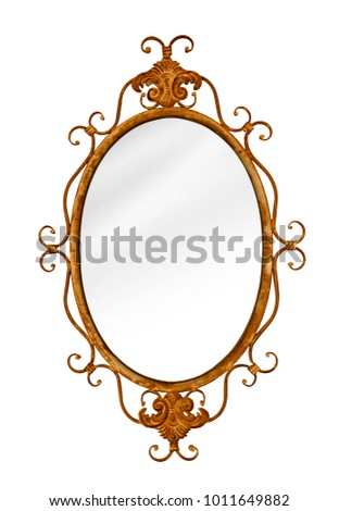 Rusty antique baroque style mirror. Genuine vintage. Isolated on white. Gilt, gold in its heyday!