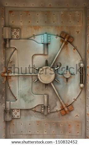 Rusty Bank Vault Door - stock photo