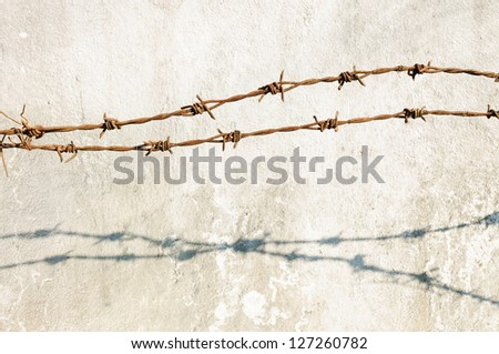 Rusty barbed wire. - stock photo