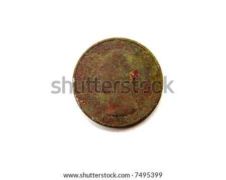 Rusty Brown United States Quarter Coin Macro Close-up - stock photo