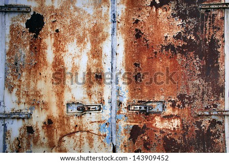 Rusty cargo container doors closeup