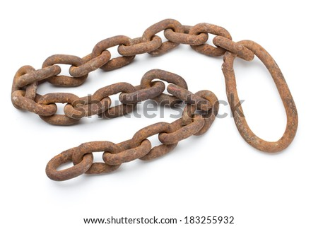 Rusty chain isolated on a white background - stock photo