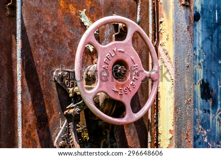 Rusty Details on an old train car - stock photo