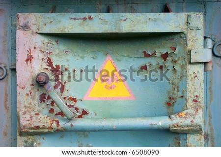 Rusty door on Chernobyl atomic station - stock photo