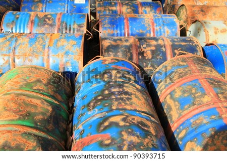Rusty fuel and chemical drums - stock photo