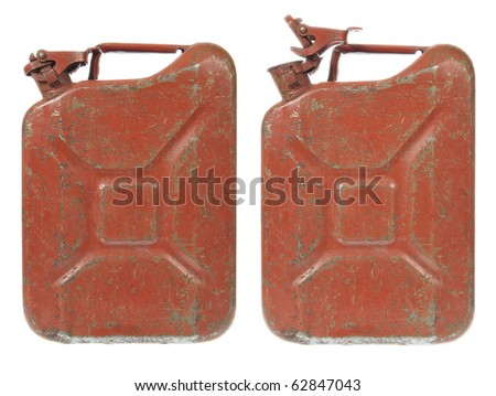 Rusty Gas Can isolated on white. Closed and Open - stock photo