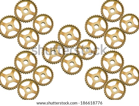 rusty gears isolated on a white background.