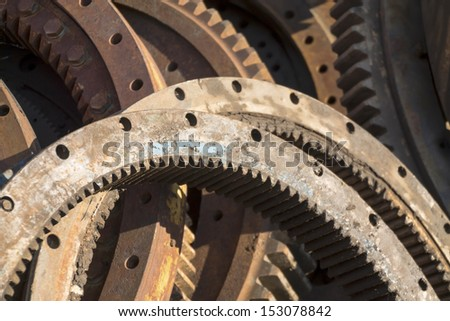 rusty gears,scrap machinery parts - stock photo