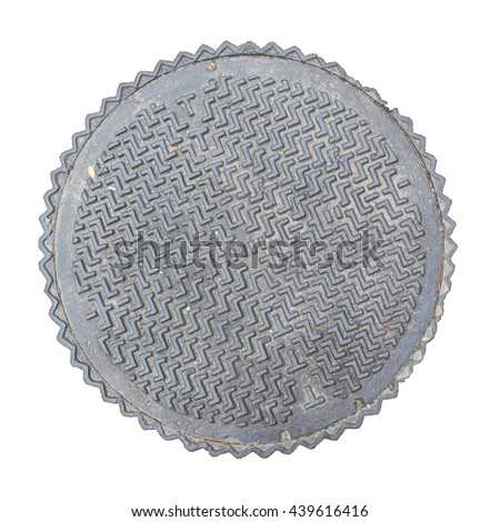 Rusty, grunge manhole cover, ROUGH edge, rim isolated - stock photo