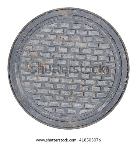 Rusty, grunge manhole cover, ROUND edge, rim isolated - stock photo