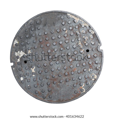 Rusty, grunge manhole cover, without rim - stock photo