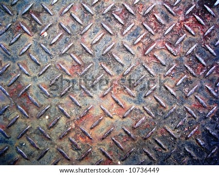Rusty grunge metal plate background - stock photo