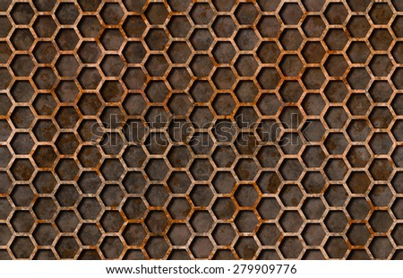 Rusty hexagon pattern grate texture background seamlessly tileable - stock photo