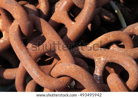 Rusty industrial iron chain