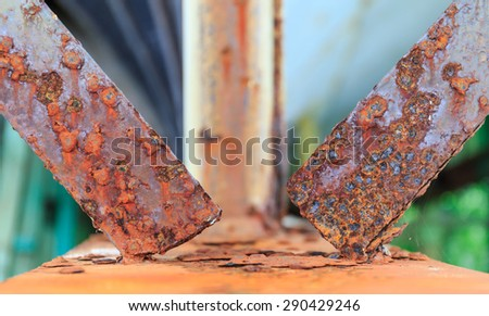rusty iron plate joint in close up - stock photo