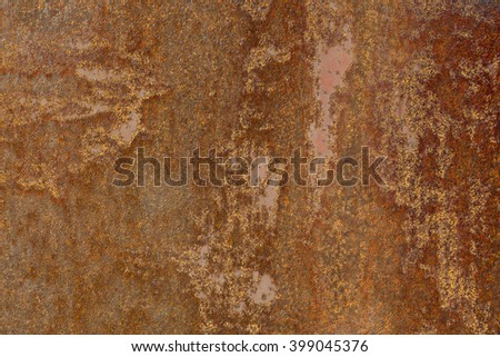 Rusty iron surface old brown grunge sheet of iron fragment of protective structure made of metal plate closeup on armor textured background - stock photo