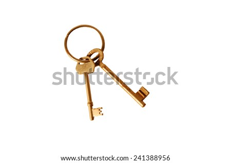rusty keys isolated - stock photo