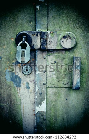 Rusty lock - stock photo