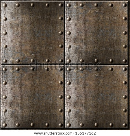 rusty metal armour background with rivets - stock photo