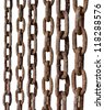 Rusty metal chains on white background - stock photo