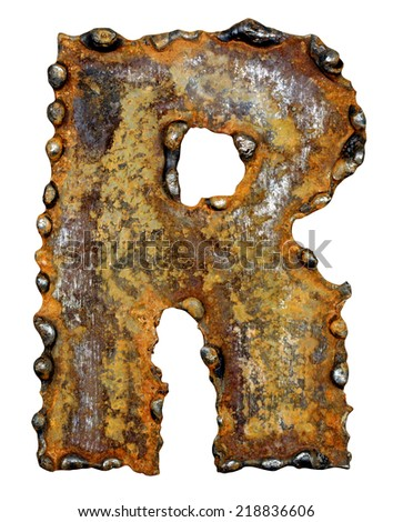 Rusty metal letter R. Old metal alphabet isolated on white background.  - stock photo