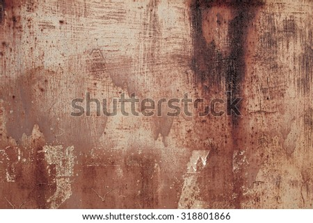 Rusty metal painted plate background, grunge texture - stock photo