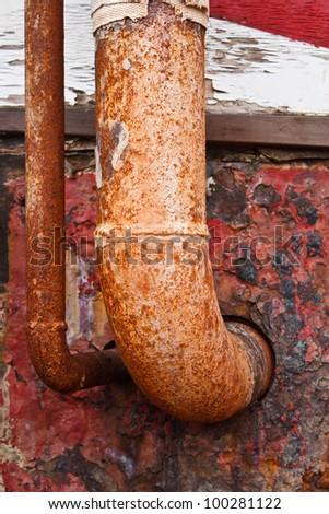 rusty metal pipe - stock photo
