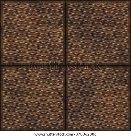 Rusty metal plate Seamless texture. Steampunk background. - stock photo