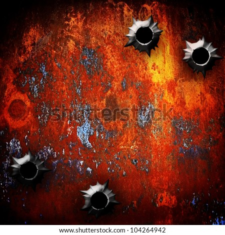 rusty metal with bullet hole - stock photo