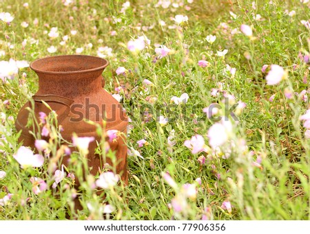 rusty milk jug in a field of flowers - stock photo