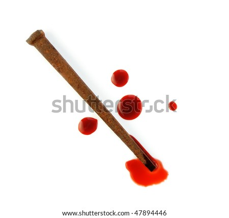 Rusty nail and drops of blood on a white background. - stock photo