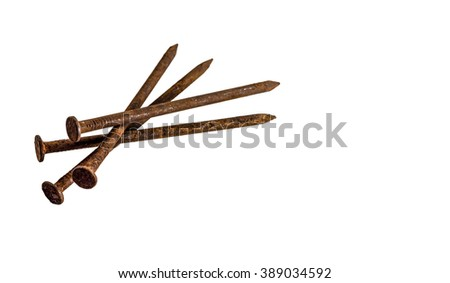 Rusty nail on white background.
