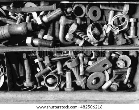 Rusty nails and screws texture background