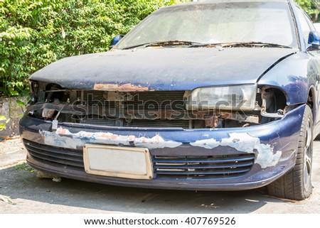 rusty old car - stock photo